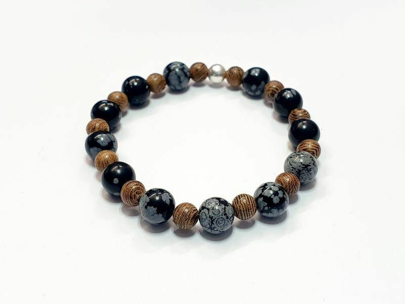 Bracelet Mala en bois et Obsidienne flocon de neige 8 mm