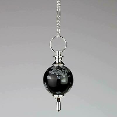 Pendule galileo en obsidienne flocon de neige