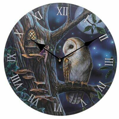 Horloge fée et hiboux