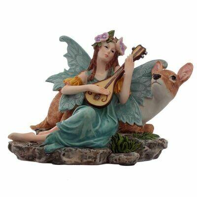 Statue fée fleur de turquoise avec lute & Faon