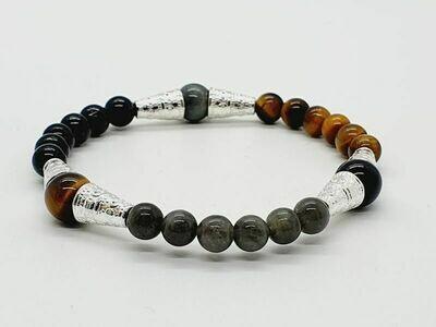 Bracelet Tourmaline, œil de tigre, labradorite, et pierre de lave