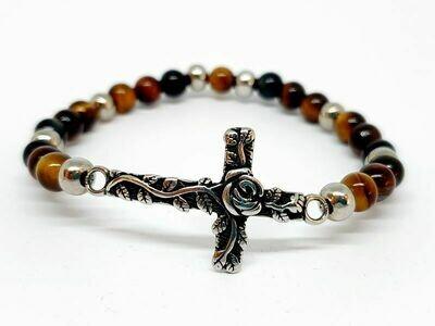Bracelet oeil de faucon, oeil de taureau, et oeil de tigre, 6 mm