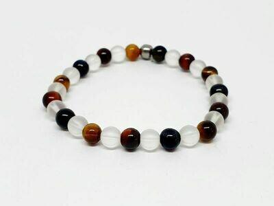 Bracelet oeil de faucon, oeil de taureau, oeil de tigre, cristal de roche mat, 6 mm