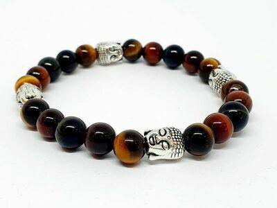 Bracelet oeil de faucon, oeil de taureau, et oeil de tigre, 8 mm