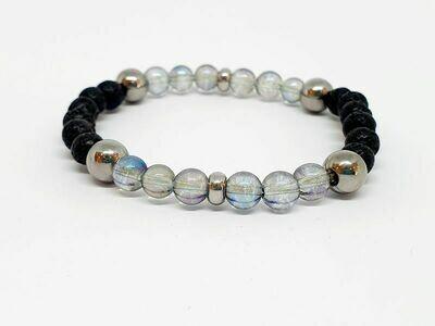 Bracelet aqua aura, pierre de lave, 6 mm