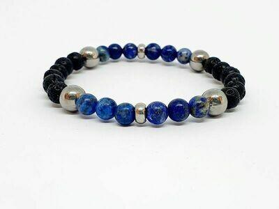 Bracelet Lapis Lazuli, pierre de lave, 6 mm