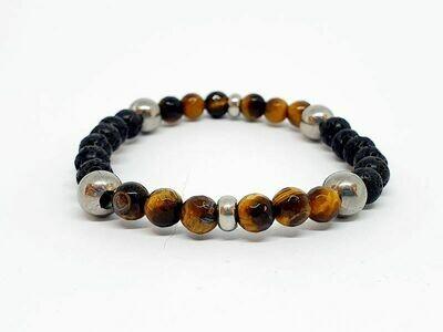 Bracelet œil de tigre et pierre de lave, 6 mm