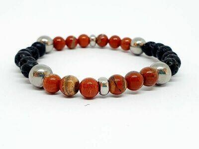 Bracelet Jaspe rouge, pierre de lave, 6 mm