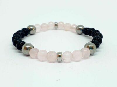 Bracelet Quartz rose, pierre de lave, 6 mm