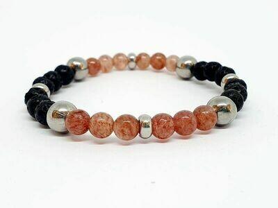 Bracelet Quartz Hematoïde, pierre de lave, 6 mm