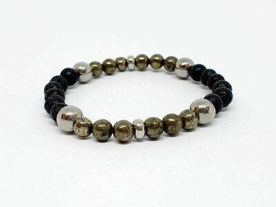 Bracelet Pyrite et pierre de lave, 6 mm