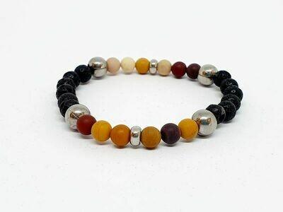 Bracelet Mookaïte, pierre de lave, 6 mm