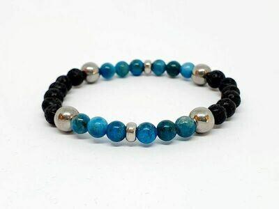 Bracelet Apatite bleue, et pierre de lave, 6 mm