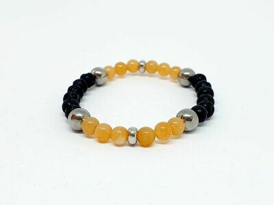 Bracelet aventurine orange, pierre de lave, 6 mm