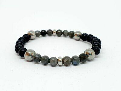 Bracelet Labradorite et pierre de lave