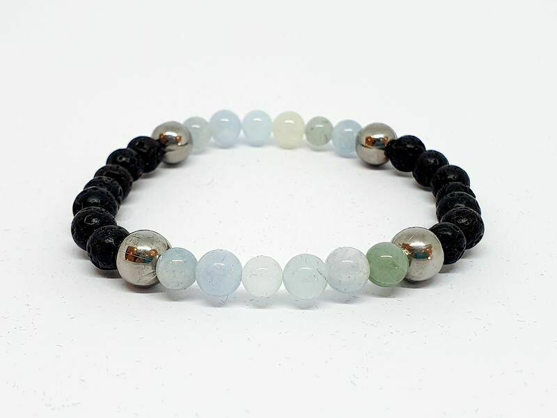 Bracelet Aigue Marine, pierre de lave 6 mm