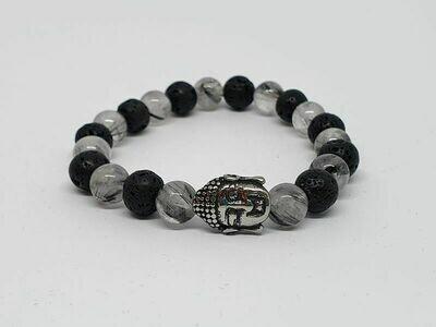 Bracelet cristal de roche inclusion tourmaline, pierre de lave, 8 mm