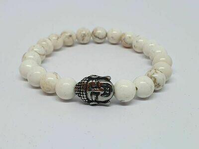 Bracelet magnésite, pierre de lave, 6 mm