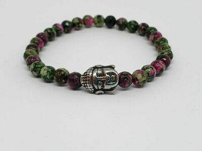 Bracelet Serpentine colorée facettée, 6 mm
