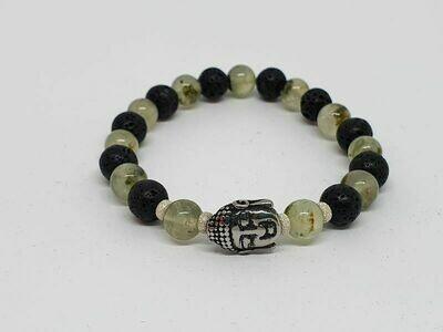 Bracelet Prehnite et pierre de lave, 8 mm