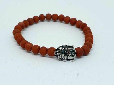 Bracelet Jaspe rouge mat, 6 mm