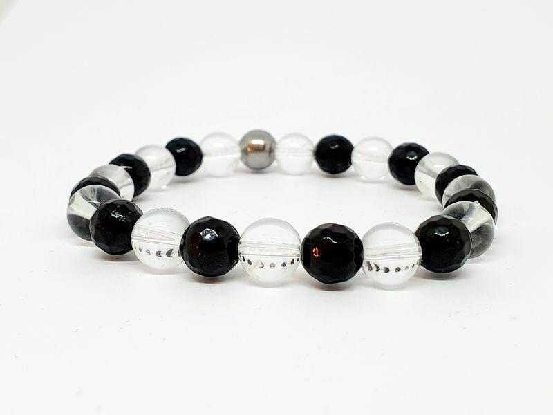Bracelet Tourmaline Facettée, cristal de roche, 8 mm