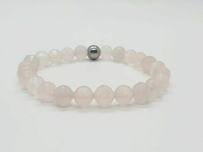 Bracelet quartz rose facetté, 8 mm