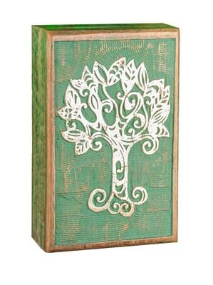 Boîte en bois arbre de vie celtique