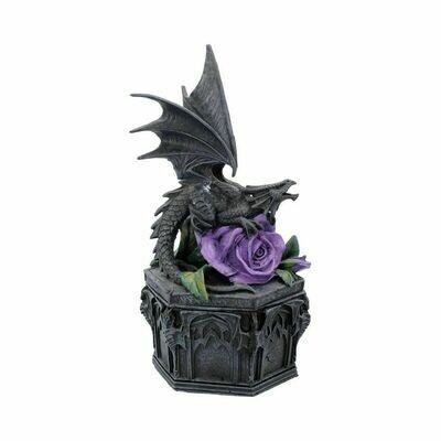 Boîte à bijoux dragon et rose 25 cm