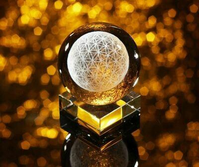 Sphère en cristal fleur de vie 8 cm