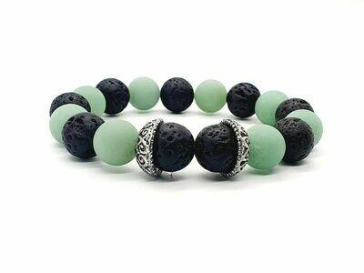 Bracelet Aventurine verte mate et pierre de lave, 12 mm
