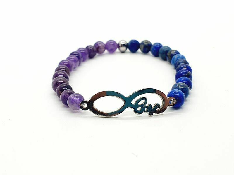 Bracelet Améthyste et Lapis Lazuli, 6 mm
