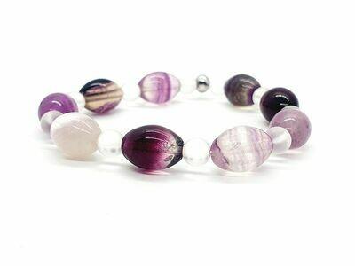 Bracelet Fluorite ovale 10x14 mm et cristal de roche 6mm