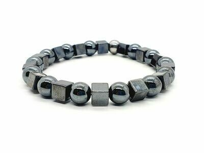 Bracelet Hématite cube 6x6 et perle 8 mm