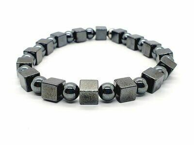 Bracelet Hématite cube 6x6 et perle 6 mm