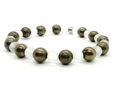 Bracelet Pyrite 8 mm et cristal de roche mat 6 mm