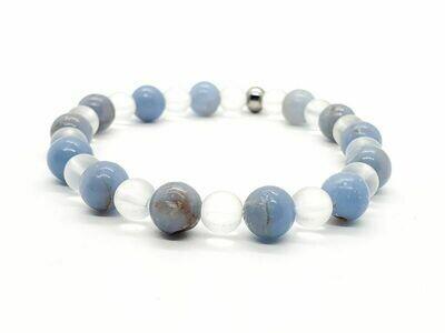 Bracelet Angélite 8 mm et cristal de roche mate 6 mm