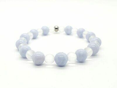 Bracelet Calcédoine 8 mm et cristal de roche mate 6 mm