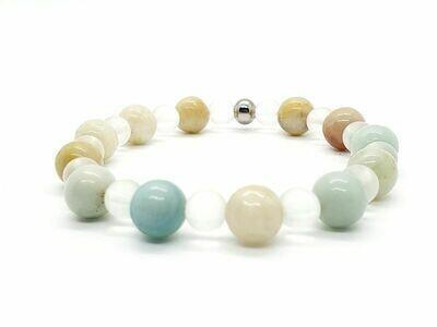 Bracelet Amazonite 8 mm et cristal de roche mat 6 mm