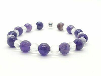 Bracelet Améthyste 8 mm et cristal de roche 6 mm
