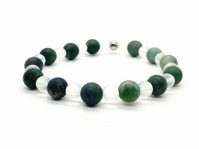 Bracelet Agate mousse mate 8 mm et cristal de roche mat 6 mm