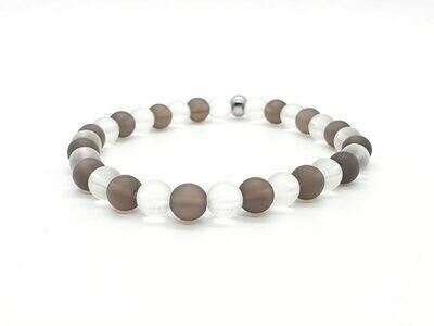 Bracelet Quartz fumé mat 6 mm et cristal de roche mat 6 mm