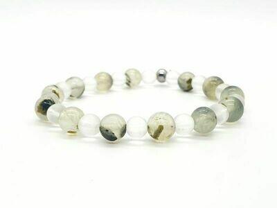 Bracelet Prehnit 8 mm et cristal de roche mat 6 mm