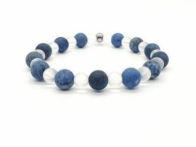 Bracelet Dumortierite mat 8 mm et cristal de roche mat 6 mm