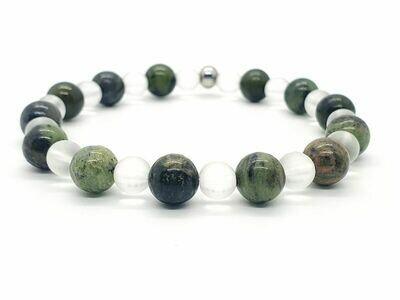 Bracelet Chrysoprase 8 mm et cristal de roche mat 6 mm