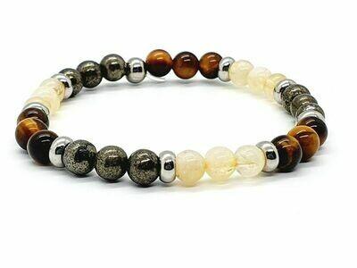 Bracelet œil de tigre, pyrite et citrine naturelle, 6 mm