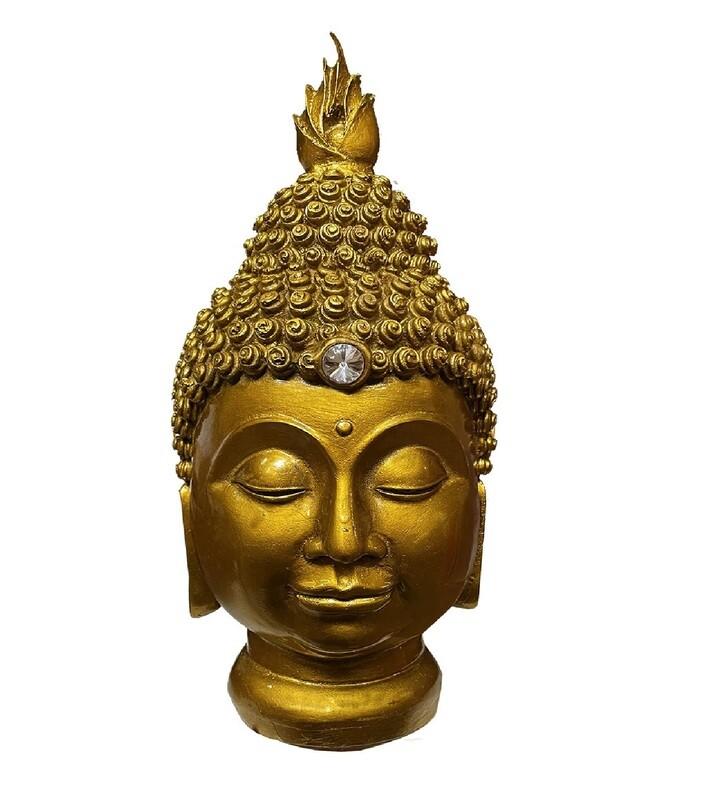 Tête de Bouddha résine Or Antique 31cm
