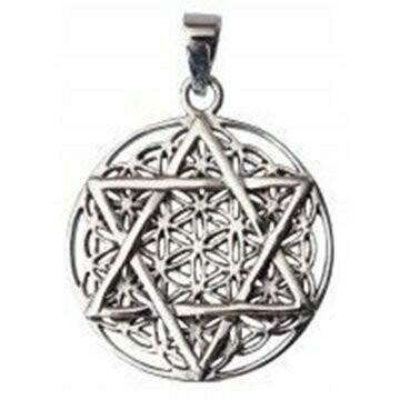 Pendentif fleur de vie avec pentagramme