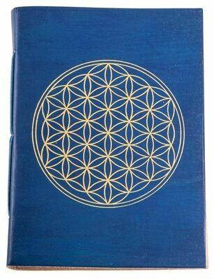 Cahier avec dorure Fleur de Vie - bleu roi