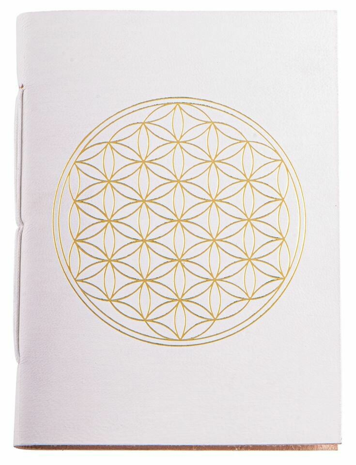 Cahier avec dorure Fleur de Vie - blanc